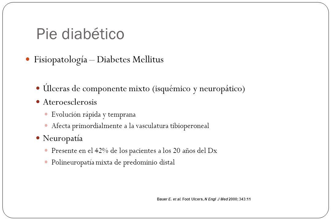 Pie diabético Fisiopatología – Diabetes Mellitus Úlceras de componente mixto (isquémico y neuropático) Ateroesclerosis Evolución rápida y temprana Afe