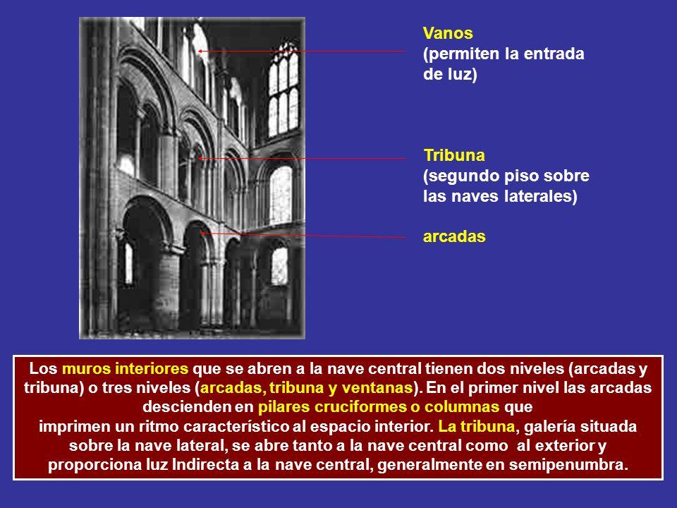 Vanos (permiten la entrada de luz) Tribuna (segundo piso sobre las naves laterales) arcadas Los muros interiores que se abren a la nave central tienen
