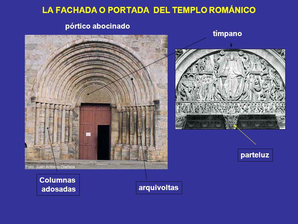 LA FACHADA O PORTADA DEL TEMPLO ROMÁNICO pórtico abocinado arquivoltas Columnas adosadas tímpano parteluz
