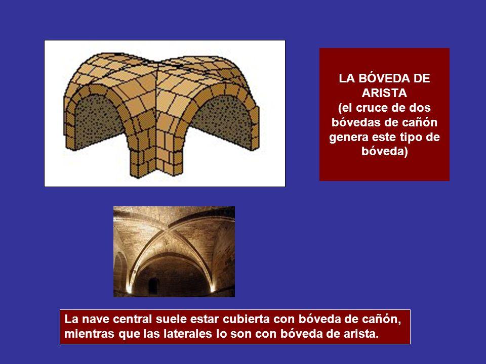 LA BÓVEDA DE ARISTA (el cruce de dos bóvedas de cañón genera este tipo de bóveda) La nave central suele estar cubierta con bóveda de cañón, mientras q