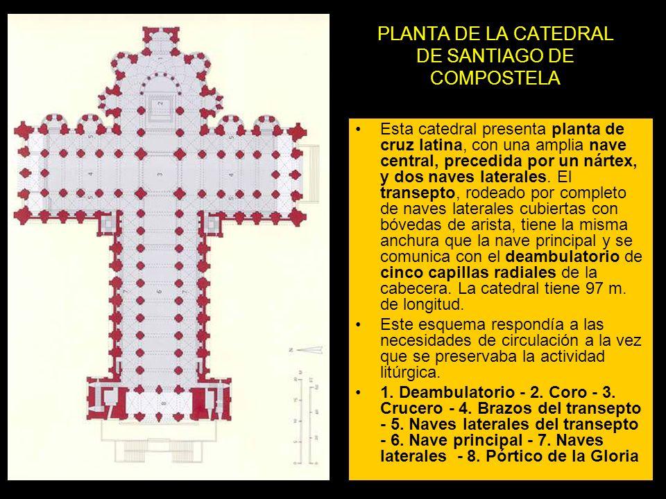 PLANTA DE LA CATEDRAL DE SANTIAGO DE COMPOSTELA Esta catedral presenta planta de cruz latina, con una amplia nave central, precedida por un nártex, y