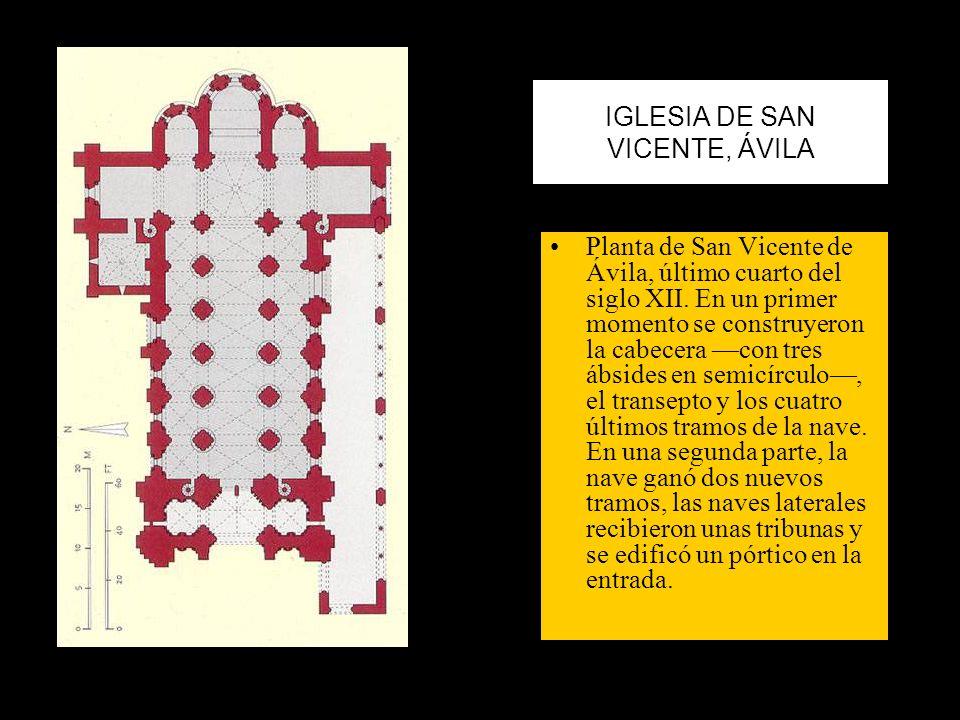 IGLESIA DE SAN VICENTE, ÁVILA Planta de San Vicente de Ávila, último cuarto del siglo XII. En un primer momento se construyeron la cabecera con tres á