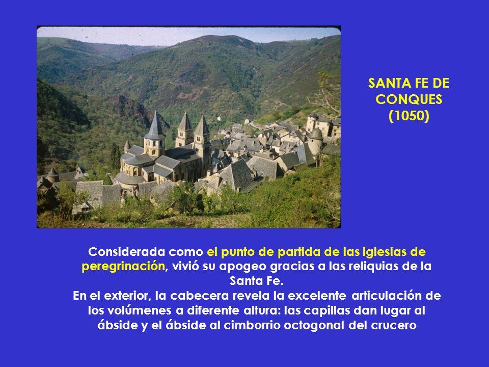 Considerada como el punto de partida de las iglesias de peregrinación, vivió su apogeo gracias a las reliquias de la Santa Fe. En el exterior, la cabe