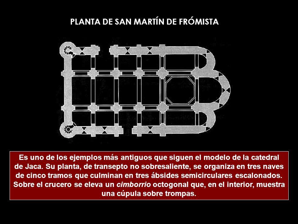 Es uno de los ejemplos más antiguos que siguen el modelo de la catedral de Jaca. Su planta, de transepto no sobresaliente, se organiza en tres naves d