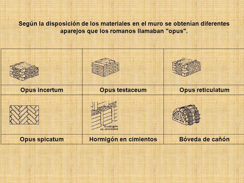 Según la disposición de los materiales en el muro se obtenían diferentes aparejos que los romanos llamaban