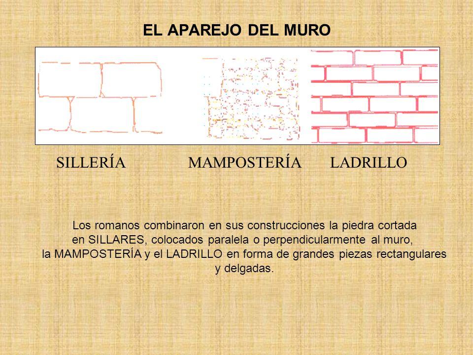 EL APAREJO DEL MURO SILLERÍA MAMPOSTERÍA LADRILLO Los romanos combinaron en sus construcciones la piedra cortada en SILLARES, colocados paralela o per