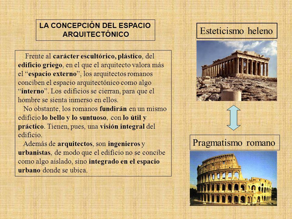 Características generales: funcionalidad, pragmatismo y monumentalidad.