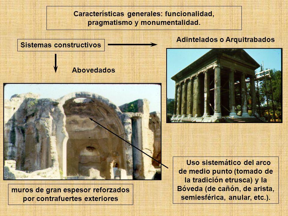 Características generales: funcionalidad, pragmatismo y monumentalidad. Sistemas constructivos Adintelados o Arquitrabados Uso sistemático del arco de