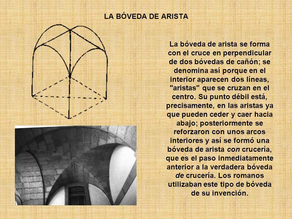 LA BÓVEDA DE ARISTA La bóveda de arista se forma con el cruce en perpendicular de dos bóvedas de cañón; se denomina así porque en el interior aparecen