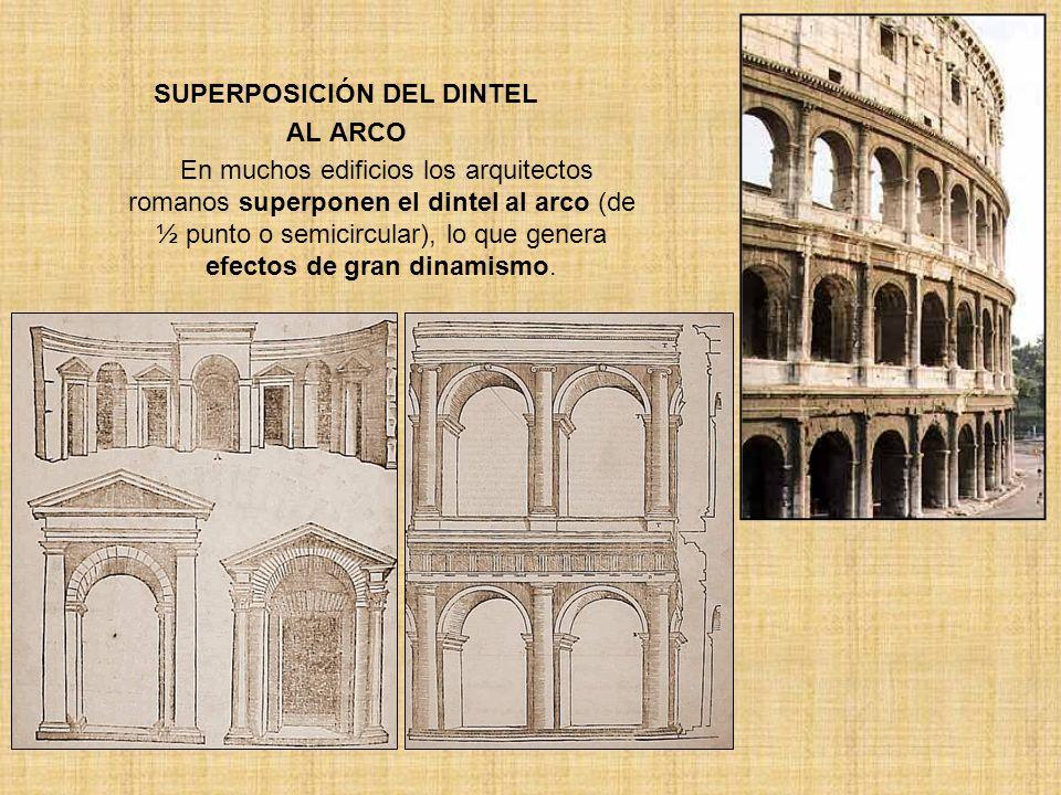 SUPERPOSICIÓN DEL DINTEL AL ARCO En muchos edificios los arquitectos romanos superponen el dintel al arco (de ½ punto o semicircular), lo que genera e