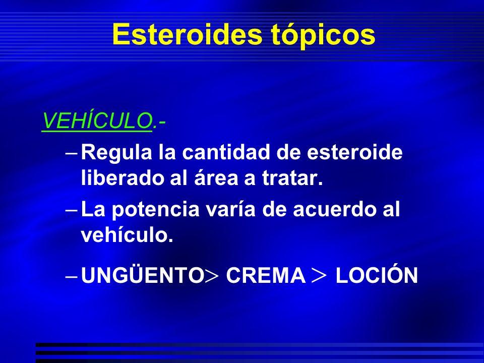 Esteroides tópicos VEHÍCULO.- –Regula la cantidad de esteroide liberado al área a tratar. –La potencia varía de acuerdo al vehículo. –UNGÜENTO CREMA L