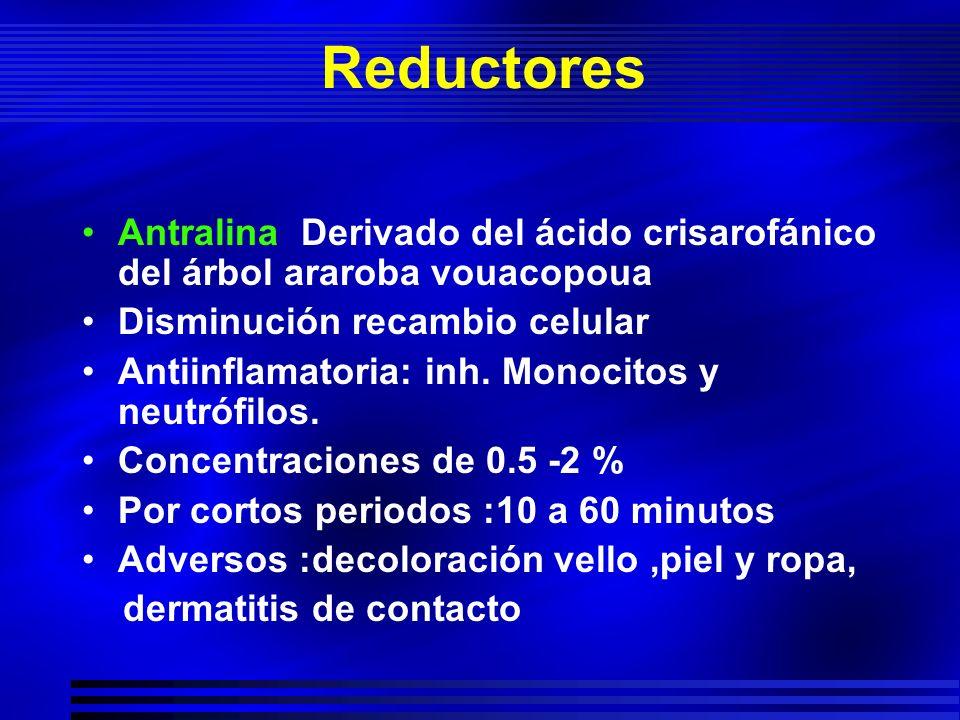 Reductores Antralina Derivado del ácido crisarofánico del árbol araroba vouacopoua Disminución recambio celular Antiinflamatoria: inh. Monocitos y neu