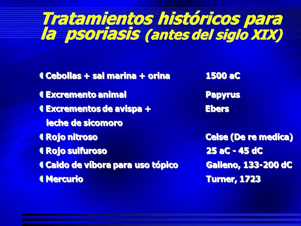 Tratamientos históricos para la psoriasis (antes del siglo XIX) Cebollas + sal marina + orina1500 aC Excremento animalPapyrus Excrementos de avispa +
