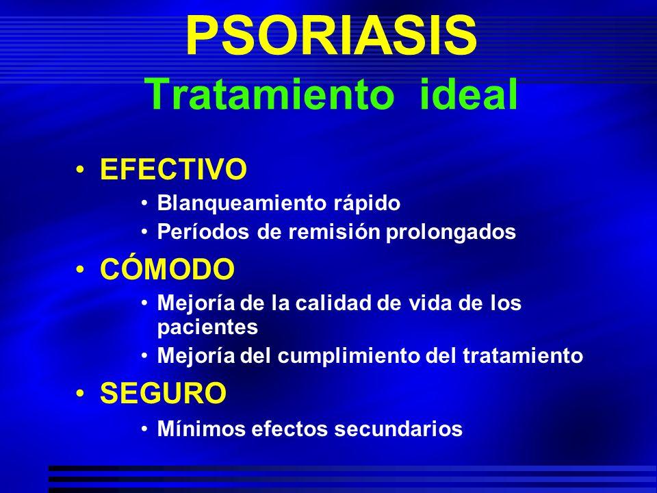 PSORIASIS Tratamiento ideal EFECTIVO Blanqueamiento rápido Períodos de remisión prolongados CÓMODO Mejoría de la calidad de vida de los pacientes Mejo