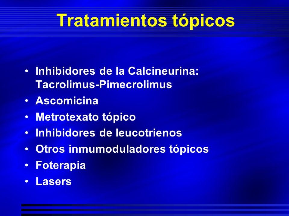 Tratamientos tópicos Inhibidores de la Calcineurina: Tacrolimus-Pimecrolimus Ascomicina Metrotexato tópico Inhibidores de leucotrienos Otros inmumodul