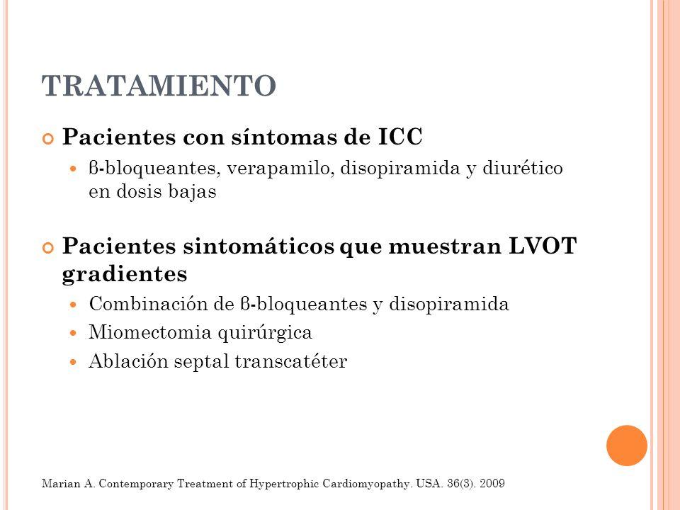TRATAMIENTO Pacientes con síntomas de ICC β-bloqueantes, verapamilo, disopiramida y diurético en dosis bajas Pacientes sintomáticos que muestran LVOT