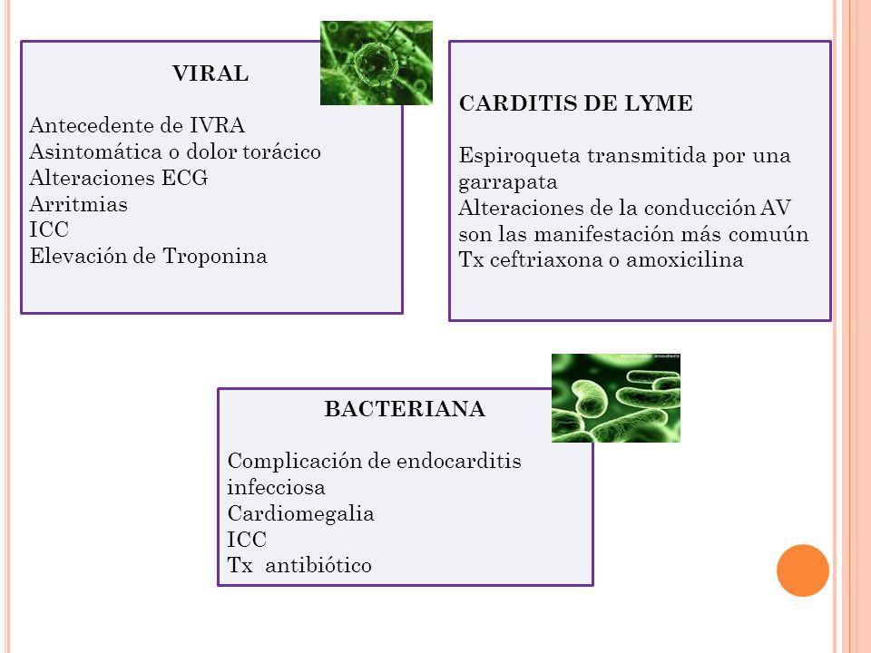 VIRAL Antecedente de IVRA Asintomática o dolor torácico Alteraciones ECG Arritmias ICC Elevación de Troponina BACTERIANA Complicación de endocarditis