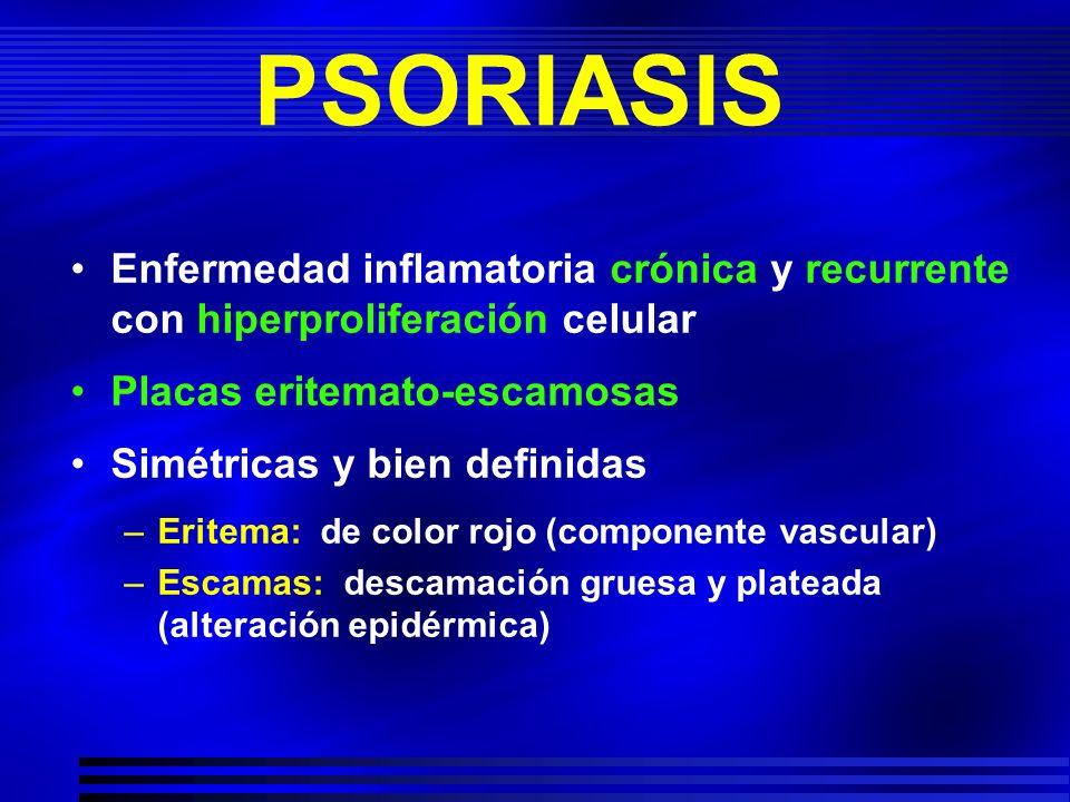 PSORIASIS Enfermedad inflamatoria crónica y recurrente con hiperproliferación celular Placas eritemato-escamosas Simétricas y bien definidas –Eritema: