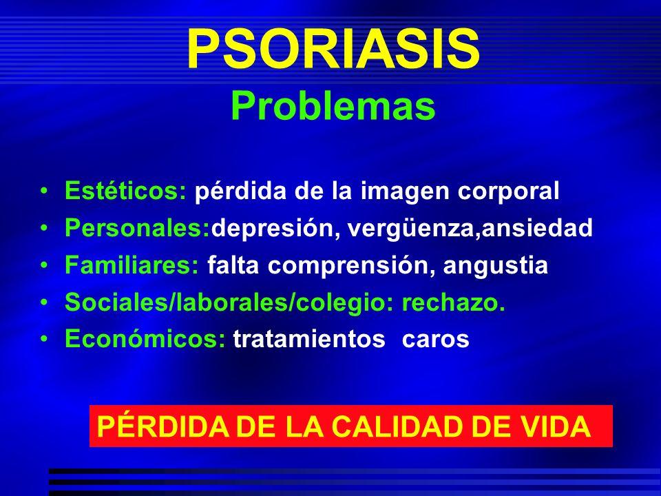 PSORIASIS Problemas Estéticos: pérdida de la imagen corporal Personales:depresión, vergüenza,ansiedad Familiares: falta comprensión, angustia Sociales