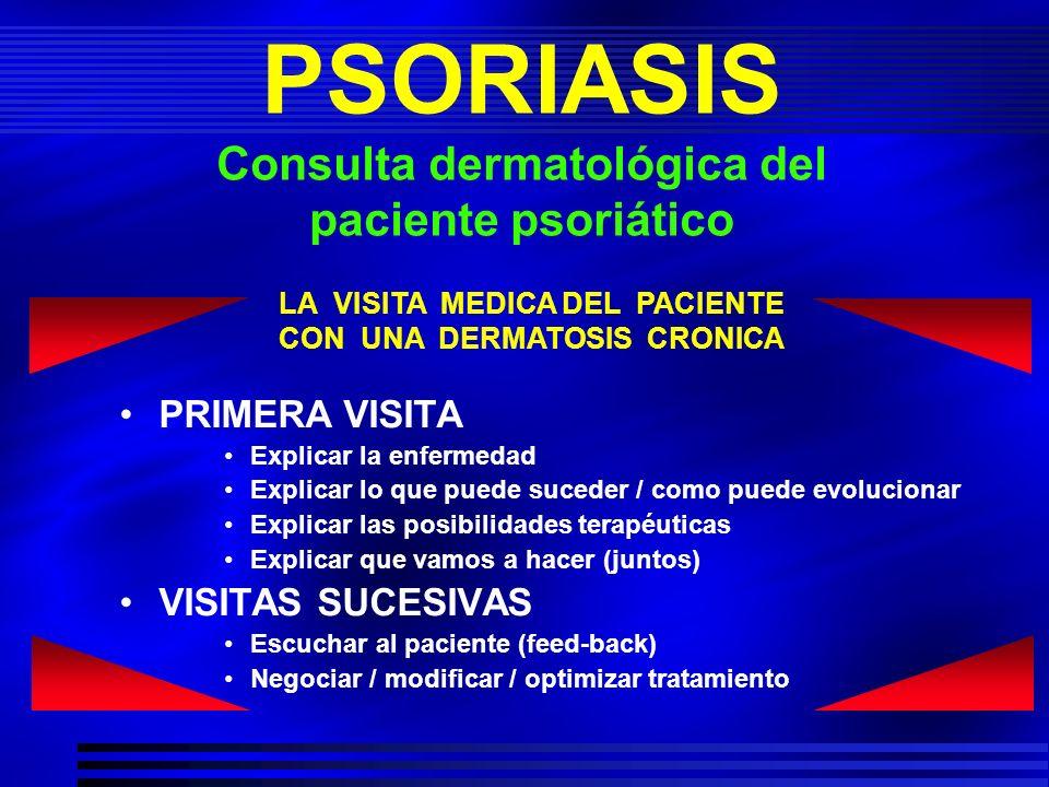 PSORIASIS Consulta dermatológica del paciente psoriático PRIMERA VISITA Explicar la enfermedad Explicar lo que puede suceder / como puede evolucionar