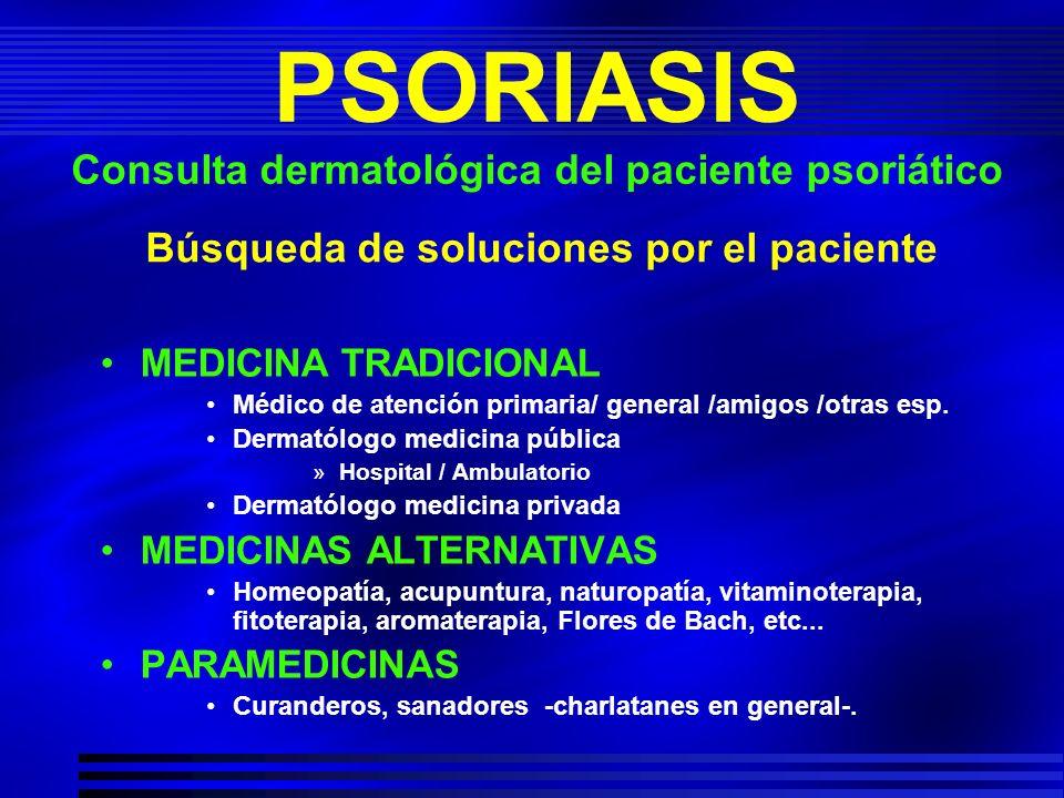 Búsqueda de soluciones por el paciente MEDICINA TRADICIONAL Médico de atención primaria/ general /amigos /otras esp. Dermatólogo medicina pública »Hos