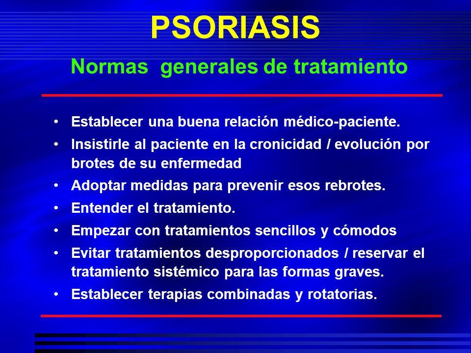 PSORIASIS Normas generales de tratamiento Establecer una buena relación médico-paciente. Insistirle al paciente en la cronicidad / evolución por brote
