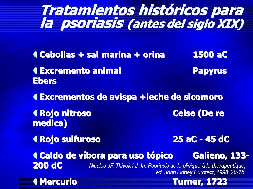 Tratamientos históricos para la psoriasis (antes del siglo XIX) Cebollas + sal marina + orina1500 aC Excremento animalPapyrus Ebers Excrementos de avi