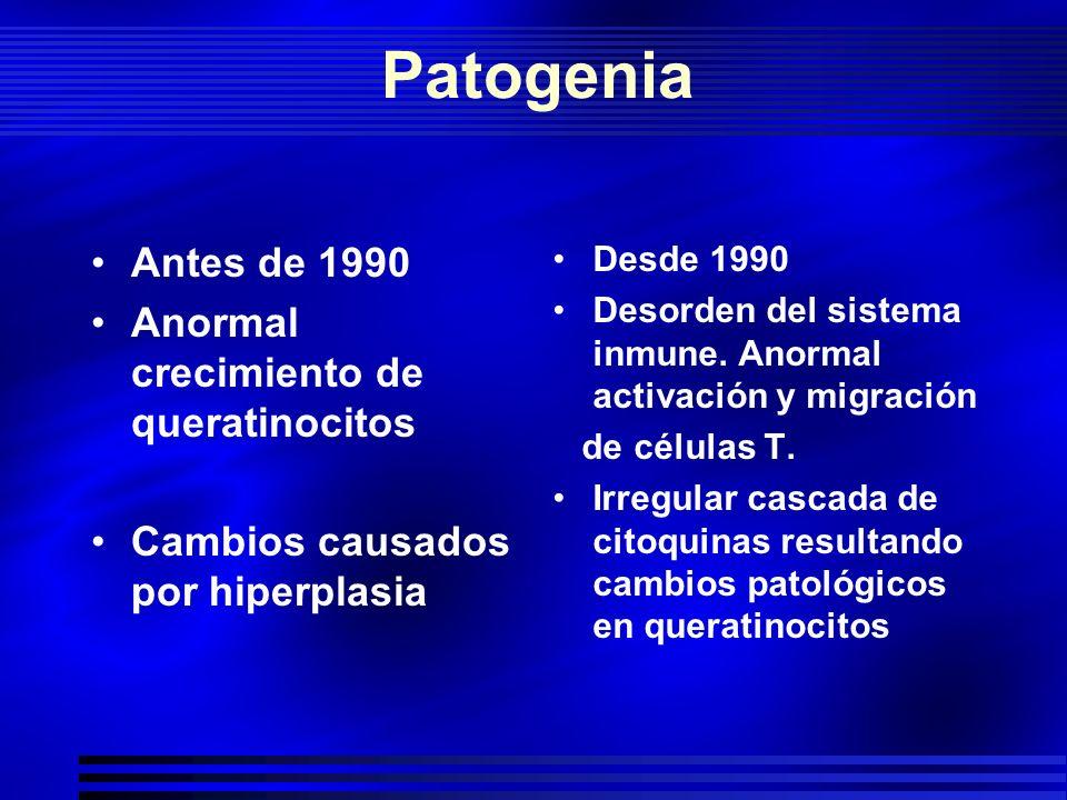 Patogenia Antes de 1990 Anormal crecimiento de queratinocitos Cambios causados por hiperplasia Desde 1990 Desorden del sistema inmune. Anormal activac