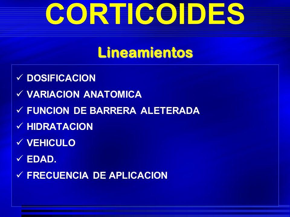 CORTICOIDES DOSIFICACION VARIACION ANATOMICA FUNCION DE BARRERA ALETERADA HIDRATACION VEHICULO EDAD. FRECUENCIA DE APLICACION Lineamientos