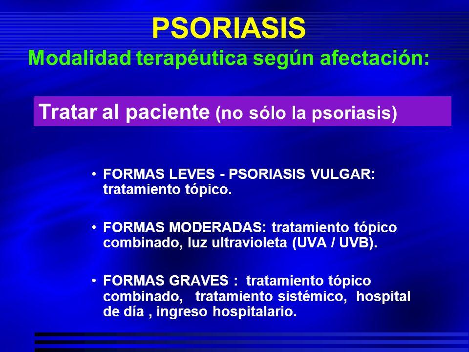 PSORIASIS Modalidad terapéutica según afectación: FORMAS LEVES - PSORIASIS VULGAR: tratamiento tópico. FORMAS MODERADAS: tratamiento tópico combinado,