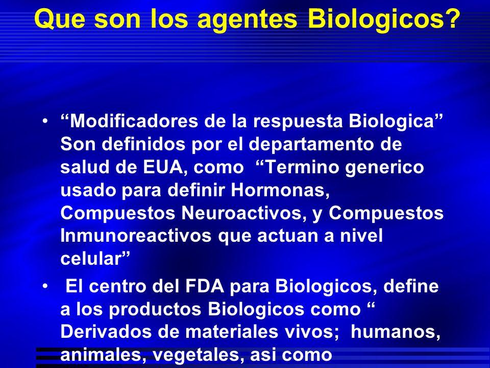 Que son los agentes Biologicos? Modificadores de la respuesta Biologica Son definidos por el departamento de salud de EUA, como Termino generico usado