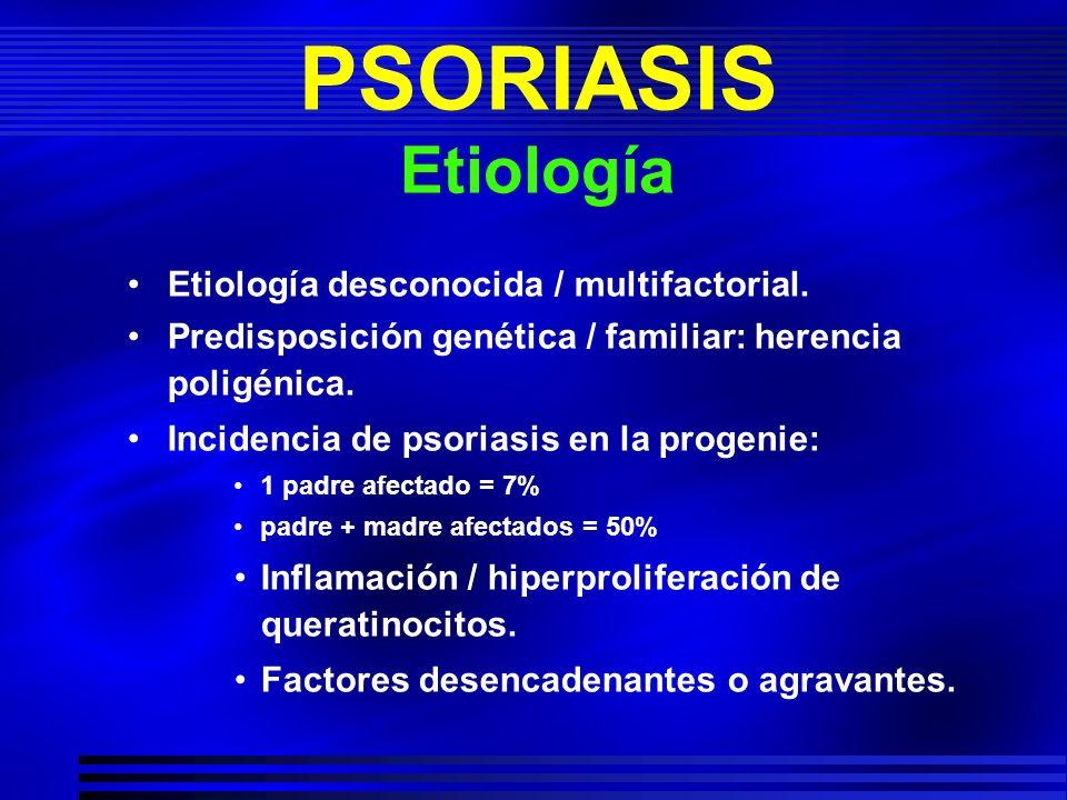 PSORIASIS Etiología Etiología desconocida / multifactorial. Predisposición genética / familiar: herencia poligénica. Incidencia de psoriasis en la pro