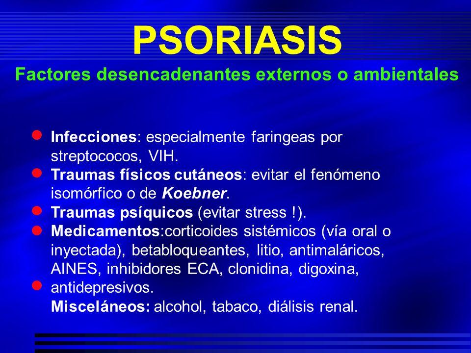 Infecciones: especialmente faringeas por streptococos, VIH. Traumas físicos cutáneos: evitar el fenómeno isomórfico o de Koebner. Traumas psíquicos (e