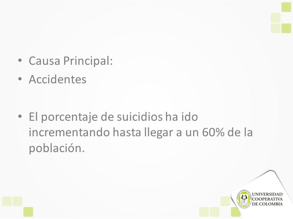 Causa Principal: Accidentes El porcentaje de suicidios ha ido incrementando hasta llegar a un 60% de la población.