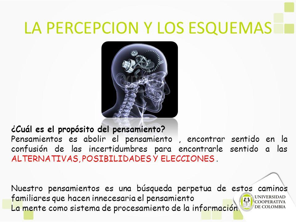 LA PERCEPCION Y LOS ESQUEMAS ¿Cuál es el propósito del pensamiento? Pensamientos es abolir el pensamiento, encontrar sentido en la confusión de las in