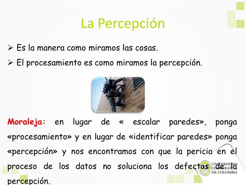 La Percepción Es la manera como miramos las cosas. El procesamiento es como miramos la percepción. Moraleja: en lugar de « escalar paredes», ponga «pr