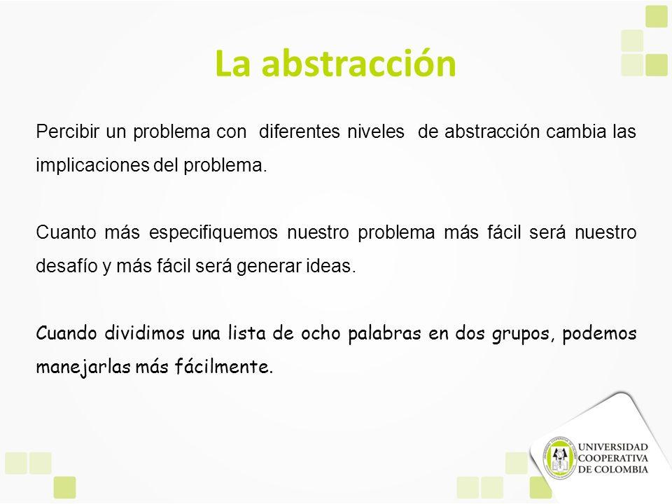 La abstracción Percibir un problema con diferentes niveles de abstracción cambia las implicaciones del problema. Cuanto más especifiquemos nuestro pro