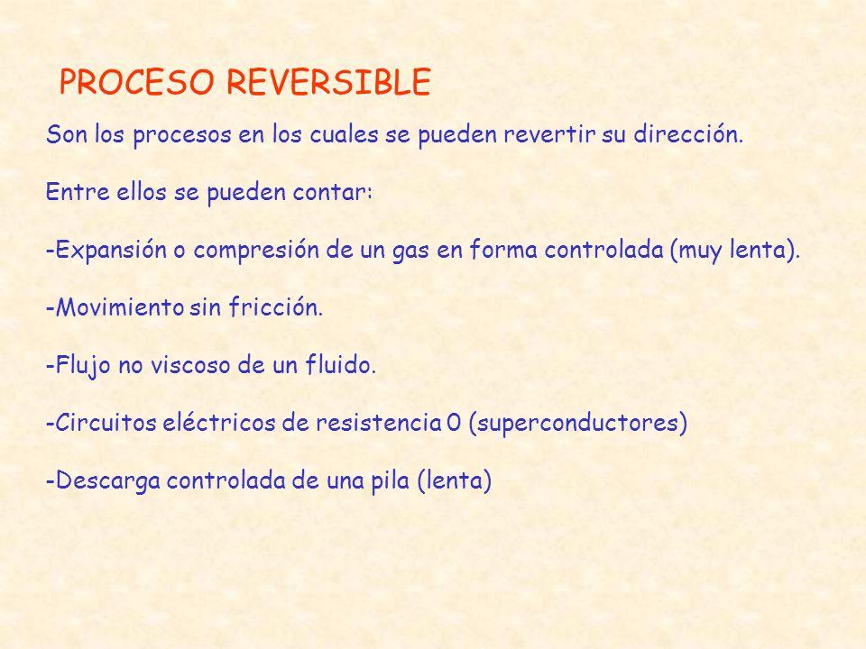 IRREVERSIBILIDAD La mayoría de las irreversibilidades caen dentro de la categoría de la experiencia común, e incluye : 1.Fricción 2.Resistencia eléctrica 3.Expansión ilimitada o expansión libre 4.Mezcla de dos sustancias diferentes 5.Deformación inelástica 6.Corriente viscosa de un fluido 7.Fricción Sólido - Sólido