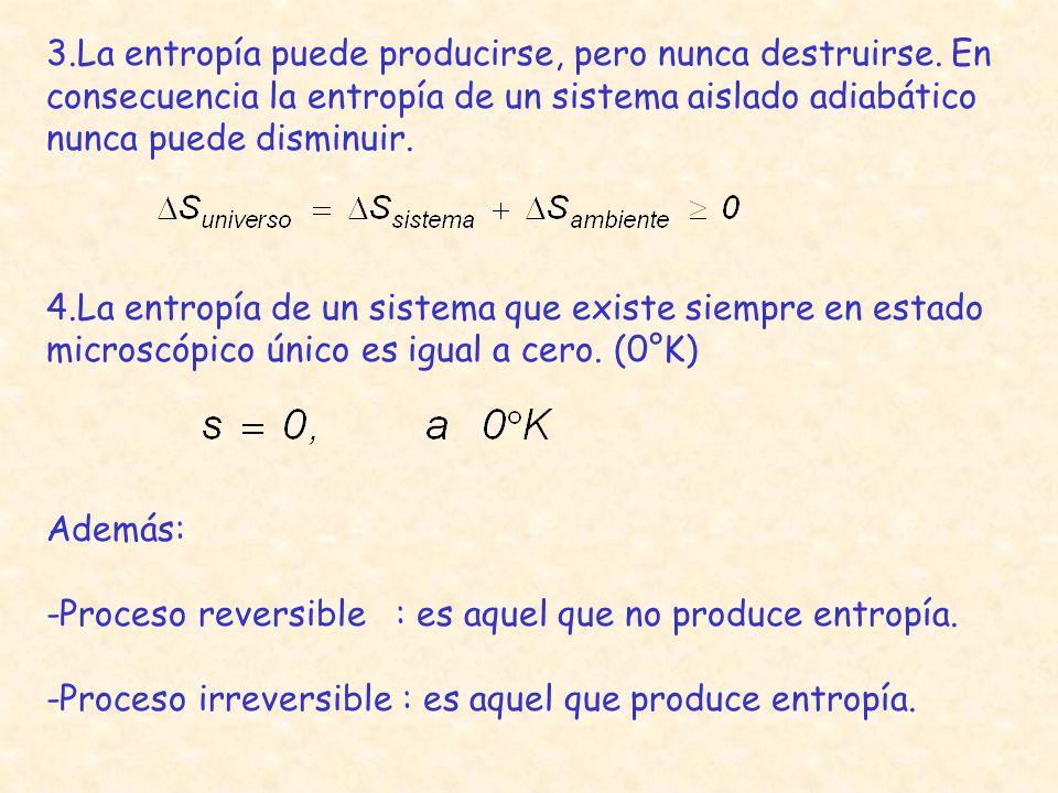 Además: -Proceso reversible : es aquel que no produce entropía. -Proceso irreversible : es aquel que produce entropía. 3.La entropía puede producirse,