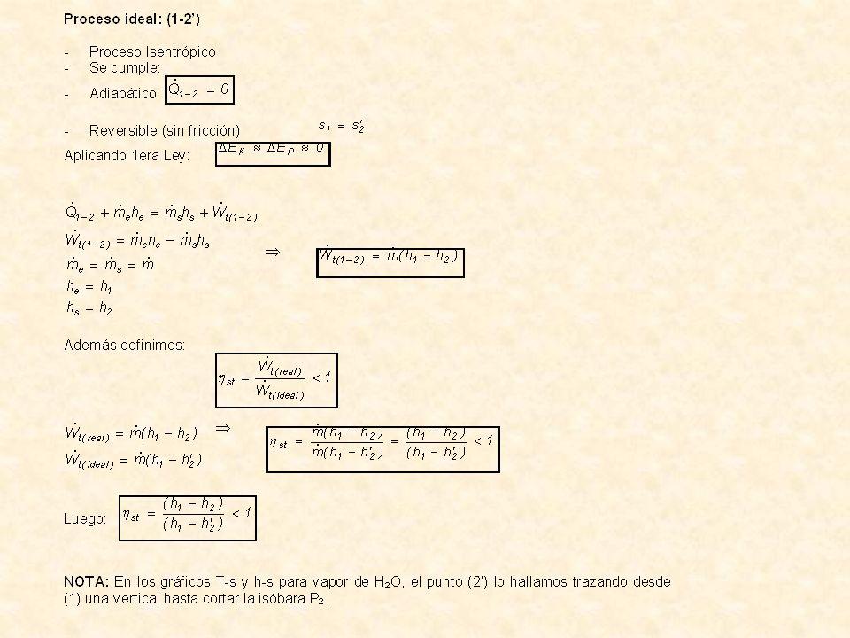 Turbina a gas: (adiabática) Gas Ideal: aire Además: Entonces: donde: Adiabático: n=k Luego: Turbina con extracción: (adiabática) (1-2): Proceso isentrópico.