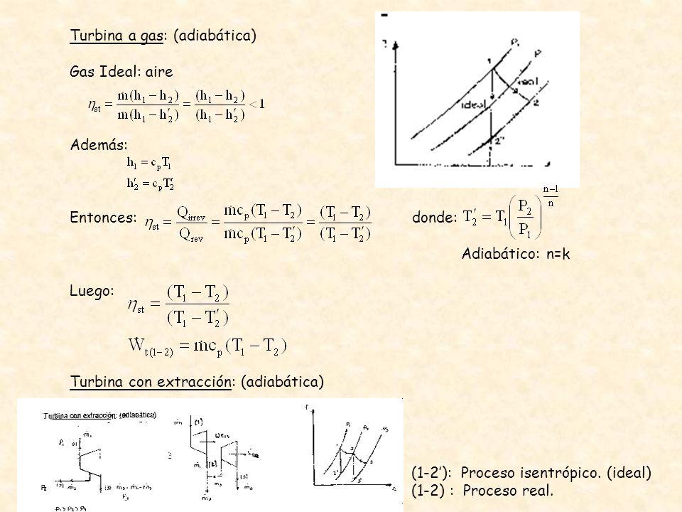 Turbina a gas: (adiabática) Gas Ideal: aire Además: Entonces: donde: Adiabático: n=k Luego: Turbina con extracción: (adiabática) (1-2): Proceso isentr