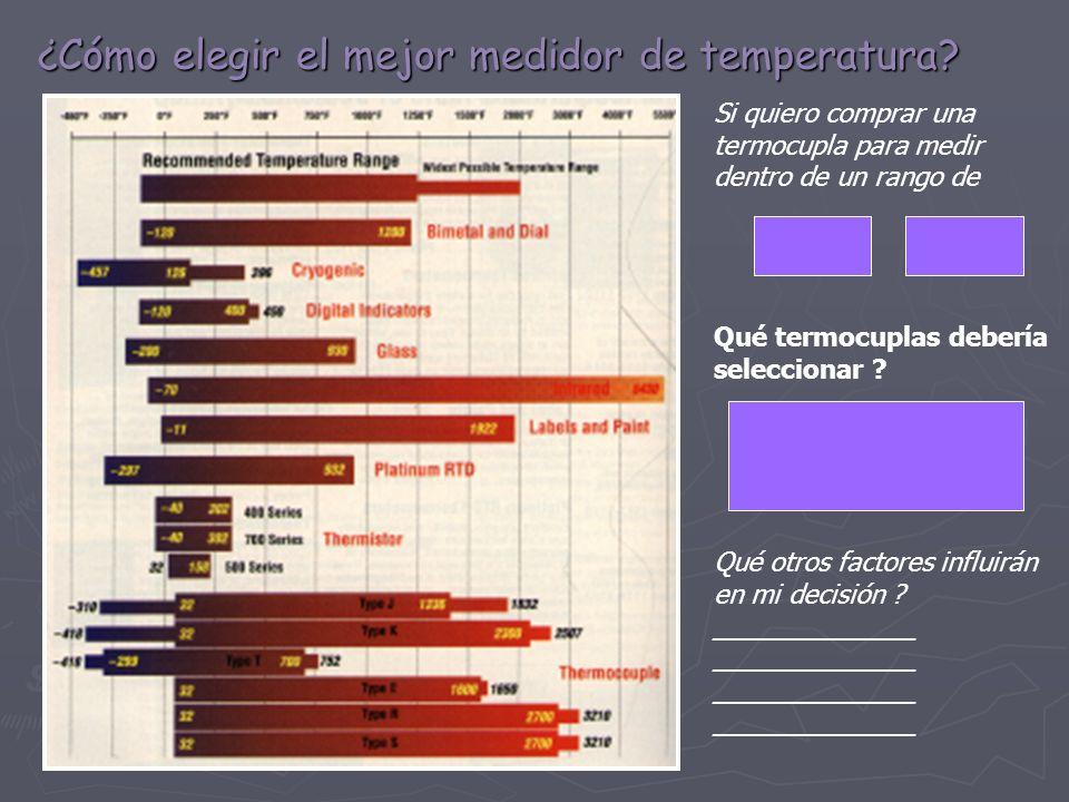 ¿Cómo elegir el mejor medidor de temperatura? Si quiero comprar una termocupla para medir dentro de un rango de Qué termocuplas debería seleccionar ?