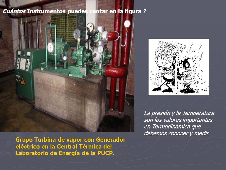 La presión y la Temperatura son los valores importantes en Termodinámica que debemos conocer y medir. Grupo Turbina de vapor con Generador eléctrico e