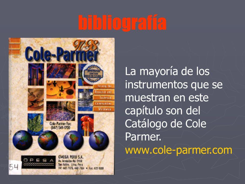 bibliografía La mayoría de los instrumentos que se muestran en este capítulo son del Catálogo de Cole Parmer. www.cole-parmer.com