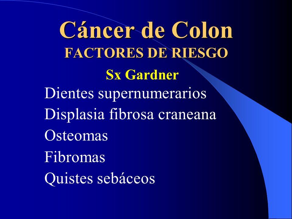 Cáncer de Colon FACTORES DE RIESGO Sx Gardner Dientes supernumerarios Displasia fibrosa craneana Osteomas Fibromas Quistes sebáceos