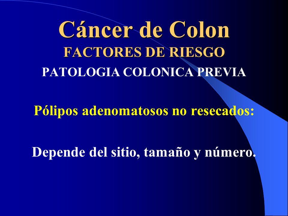 Cáncer de Colon FACTORES DE RIESGO PATOLOGIA COLONICA PREVIA Pólipos adenomatosos no resecados: Depende del sitio, tamaño y número.