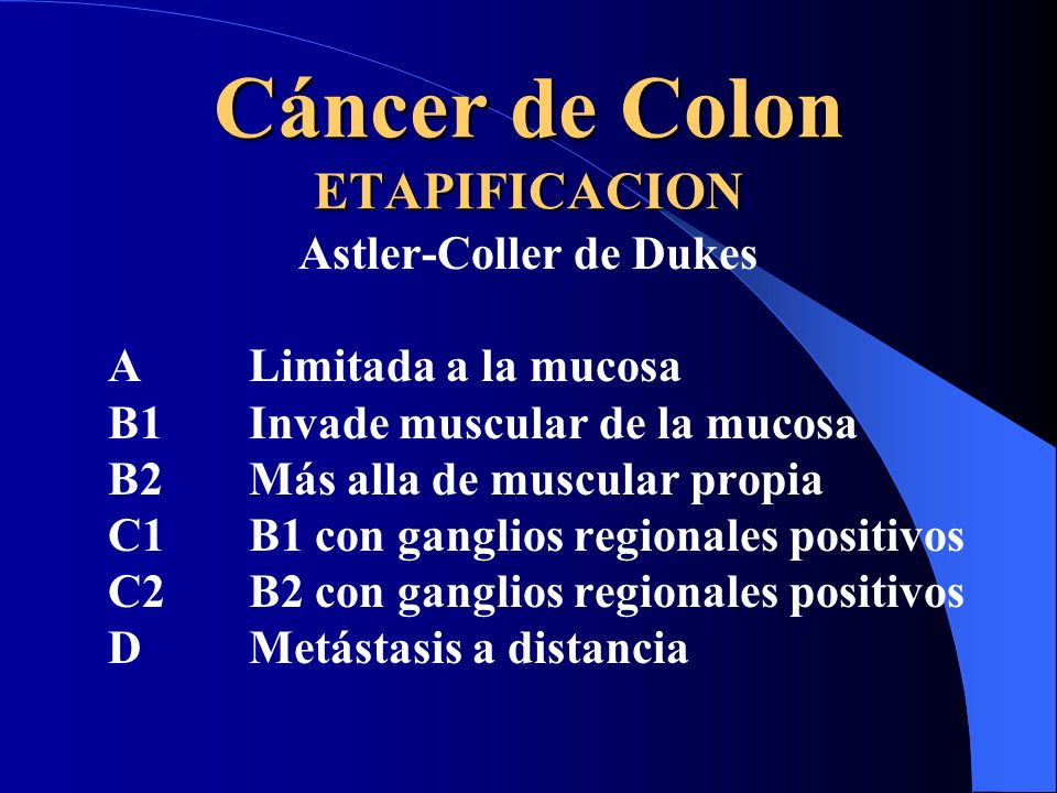 Cáncer de Colon ETAPIFICACION Astler-Coller de Dukes ALimitada a la mucosa B1Invade muscular de la mucosa B2 Más alla de muscular propia C1 B1 con gan