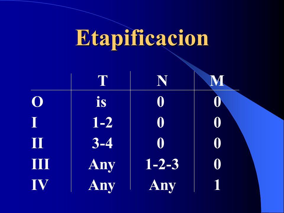 Etapificacion T N M O is 0 0 I 1-2 0 0 II 3-4 0 0 IIIAny1-2-3 0 IVAny Any 1