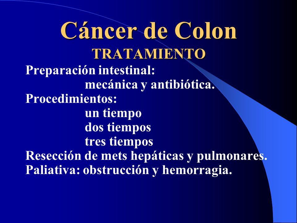 Cáncer de Colon TRATAMIENTO Preparación intestinal: mecánica y antibiótica. Procedimientos: un tiempo dos tiempos tres tiempos Resección de mets hepát
