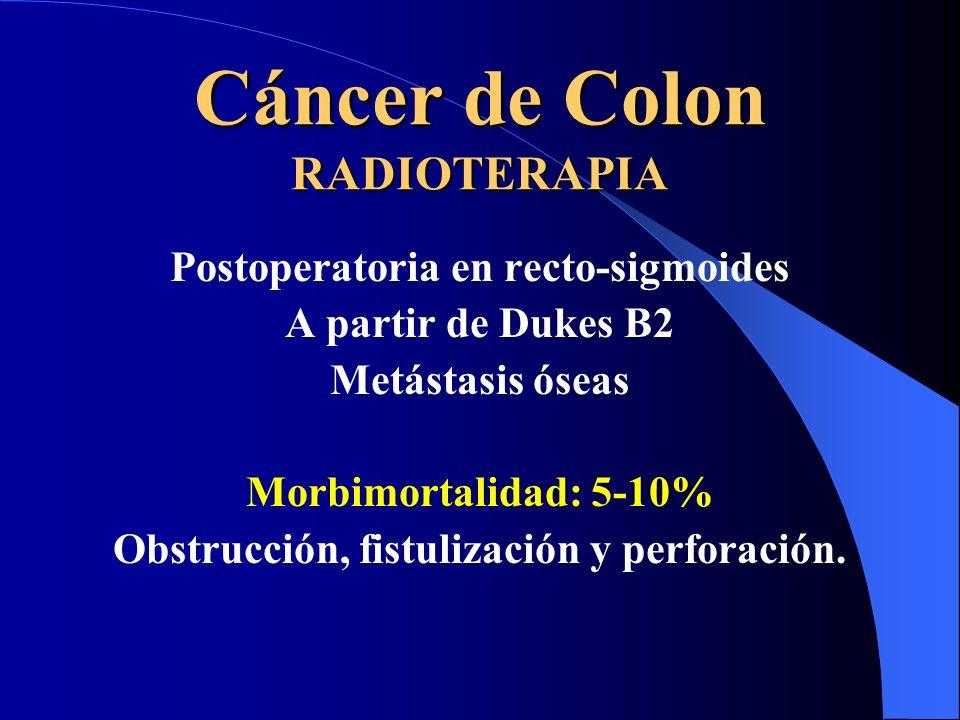 Cáncer de Colon RADIOTERAPIA Postoperatoria en recto-sigmoides A partir de Dukes B2 Metástasis óseas Morbimortalidad: 5-10% Obstrucción, fistulización